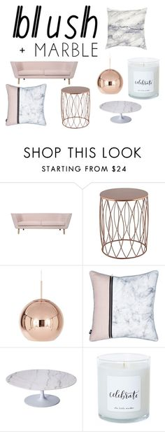 """""""lounge room blush marbel"""" by jennab97 on Polyvore featuring interior, interiors, interior design, home, home decor, interior decorating, Tom Dixon, Rove Concepts, homedecor and blushmarble"""