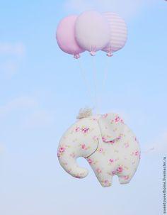 Купить Летающие слоники - розовый, голубой, слоник, слоники, слон, слоненок, слон игрушка, слоны