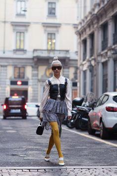 What I Wore: Essteffa White Mules / H&M Yellow Tights / Wild Inga Mini Brigitte Bag / Moja Skirt / Silk Shirt / Moja Medieval Strap Bralette. Yellow Tights, What I Wore, No Frills, Tumbler, Style Fashion, Cool Outfits, Runway, Pizza, Hipster