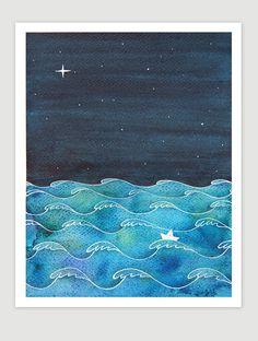 Original watercolor painting waves sailboat starry night nursery wall decor art illustration navy nautical by VApinx