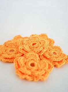 Medium Crochet Flower Applique in Gold Yellow  by needlepointnmore