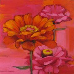The Zinnias I & II flower pink orange, painting by artist Diane Hoeptner