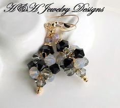 Swarovski Crystal Cluster Ball Earrings, Black Gray Gold Crystal Earrings, Gold Earrings, Gray Crystal Black Diamond Earrings, Cluster Bead by hhjewelrydesigns on Etsy