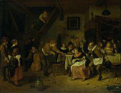 Jan Havicksz. Steen | Peasant wedding, Jan Havicksz. Steen, 1672 | In een herberg wordt een boerenbruiloft gevierd. Aan een tafel zit rechts de bruid omringd door mannen, aan de muur achter haar hangt een wandtapijt. De bruidegom zit links van haar en drinkt zijn glas leeg. Op de voorgrond danst een oude man op de muziek van muzikanten met viool en cello. Links kijken een staande man en vrouw toe. Op de vloer liggen eierschalen, botten, een bord en een lepel.