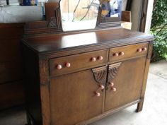 Art Deco Sideboard Buffet Cabinet With Mirror