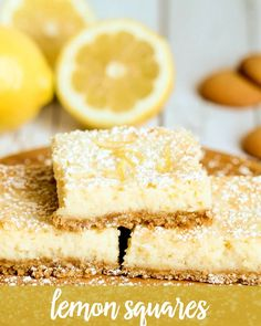 Delicious Creamy Lemon Squares with a Vanilla Wafer Crust and irresistible taste! { lilluna.com }