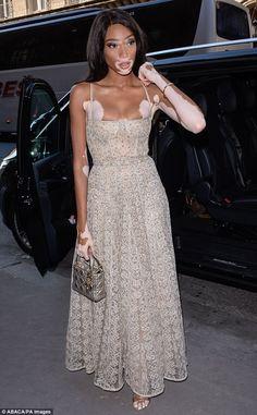 Bella Hadid, Natalie Portman Cara Delevingne wow in Paris Chantelle Brown Young, Low Cut Dresses, Winnie Harlow, African Fashion Ankara, Red Carpet Gowns, Model Street Style, Natalie Portman, Black Models, Beautiful Models