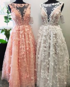 lace prom dress,floral lace dress,pink prom dress,white prom