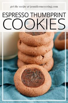 Classic thumbprint cookie made with a chocolate cookie base and then baked and filled with a milk chocolate and espresso filling. Cookie Desserts, Easy Desserts, Delicious Desserts, Best Dessert Recipes, Sweet Recipes, Drink Recipes, Good Food, Yummy Food, Star Food