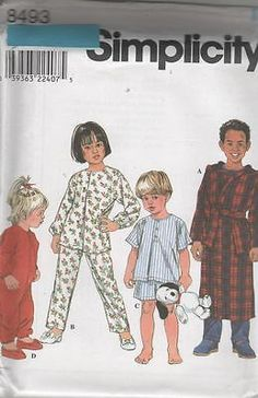 8493 Sewing Pattern Kids Baby Toddler One Piece Sleeper Pajamas Robe 1/2 1 2