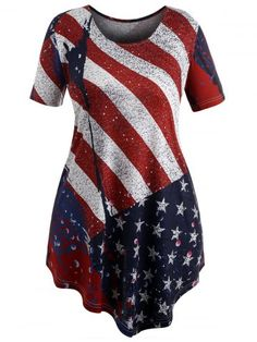 d5675ab87cf Shop for Love Red 2x Plus Size Patriotic American Flag T-shirt online at   21.91
