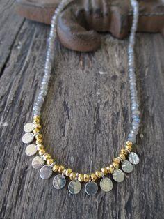 Dainty labradorite gemstone necklace  Gypsy  gold by slashKnots