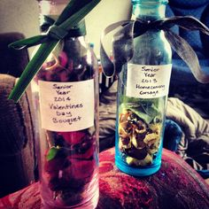 Cool idea to keep the flowers you receive forever! Put the petals in the bottle, tie something that came with it around it and put a sticker on it that shows when and how you got them. Voila!