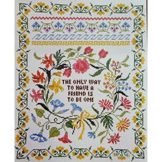 """The WAY To HAVE a FRIEND Sampler Vtg Stamped Cross Stitch Kit 16"""" x 20"""" by NeedleLittleTherapy on Etsy Crewel Embroidery Kits, Embroidery Thread, Vintage Cross Stitches, Dmc Floss, Linen Pillows, Cross Stitch Kits, Pansies, Elsa, Bullet Journal"""