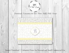 Chic Lemon Floral - DIY Printable Monogram Note Card Template - Add Text, Print, Trim, Fold, Done! Unlimited Personal Prints. MCS.0110 by DIYNotecards on Etsy