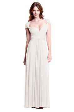 Sakura Pure Ivory Maxi Convertible Dress - Henkaa. LOVE these convertible dresses. I might get one to wear for after the wedding, so that I'm not dragging my dress on the ground.