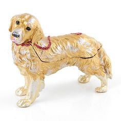 """""""Loyal Golden Retriever Trinket Box Item No. KB00334A01 $29.39 This classic Russian Faberge style trinket box is constructed with a pewter base to prevent it from falling over. The box is hand enameled, and decorated with Austrian crystals. This box features a swirling golden yellow enamel interior. #guidedog Dalmatian Dogs, Chihuahua Dogs, Red Eyed Frog, Happy Panda, Funny Frogs, Golden Fish, Turtle Gifts, Guide Dog, Beagle Puppy"""