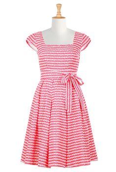 Retro stripes summer dress - eShakti Women's Scallop neck fit-and-flare dress