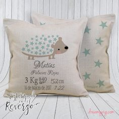 Cojín personalizado nacimiento bebé puercoespín y estrellitas imitació – dreamy pig Baby Shawer, Candy Party, Baby Boy Nurseries, Corporate Gifts, Thank You Gifts, Pillow Design, Pet Toys, Machine Embroidery, Baby Gifts