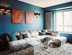 Exemple décoration salon turquoise