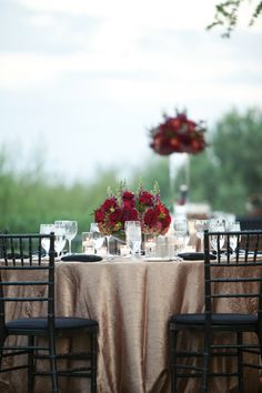 Top 13 Fall Wedding Color Schemes for and champagne gold wedding table settings, table cover Burgundy Champagne Wedding, Cranberry Wedding Colors, Best Wedding Colors, Wedding Color Schemes, Gold Champagne, Gold Wedding, Apricot Wedding, Champagne Centerpiece, Wedding Centerpieces