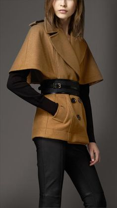 Burberry Brown Wool Cape Coat