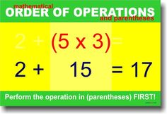 Mathematical Order of Operations (Parentheses)