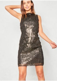 Jazlyn Gold Sequin High Neck Mini Dress Missy Empire