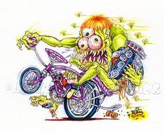 Johnny Ace ORIGINAL ART! RAT FINK BIG DADDY Roth KUSTOM KULTURE Bike STING RAY!! #JohnnyAceStudios