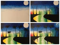 "Evolution of ""Midnight in Miami"" painted @ Painting with a Twist Miami."