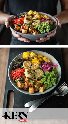 A deliciously warming meat-less meal, this Buddha Bowl is filled with hearty butterbean falafel, fragrant black rice and roasted sweet potato. Clean Eating Vegetarian, Vegetarian Recipes, Healthy Eating, Best Dinner Recipes, Spring Recipes, Budda Bowl Recipe, Roasted Sweet Potatoes, Falafel, Vegan Foods