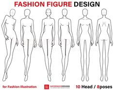 Fashion Figure Template 10 Head / 8 poses for Fashion | Etsy