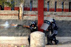 ATegucigalpa au Hinduras, des policiers anti-émeute