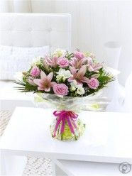 Happy Birthday Spring Rose, Lily & Freesia Hand-Tied