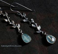Genuine #Aquamarine #Earrings #Boho Earrings #March #Birthstone by HiBackyardRose