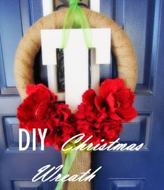 I will admit it, I am obsessed with Christmas. It is our first holiday in our very own house and I am so excited! Anyway, I am slowly wor. Hone Decor Ideas, Craft Ideas, Christmas Wreaths, Christmas Crafts, Christmas Decorations, Crafts To Do, Diy Crafts, Initial Wreath, Crafty Craft