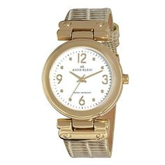 Anne Klein Women's 109606WTGD Gold-Tone Round Dial and Iced Gold Leather Strap Watch: Watches: Amazon.com