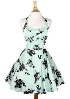 Ixia Floral Vintage A-line Dress Mint