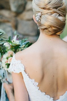 elegant braided buns hair updos for wedding with open back dress