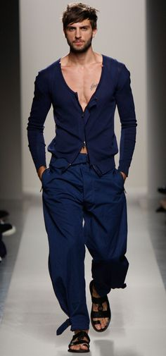 Blue monochrome outfit by Bottega Vanetta
