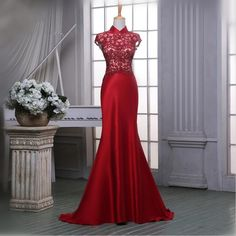 High Neck Vintage Red Long Evening Dress Mermaid