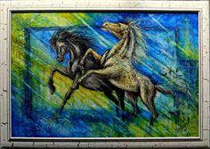 Items similar to Decorative oil painting on canvas - Running horses on Etsy Running Horses, Oil Painting On Canvas, Moose Art, Original Paintings, Workshop, Artist, Animals, Etsy, Decor