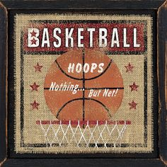 Basketball - sports artwork on burlap by Penny Lane artist Linda Spivey