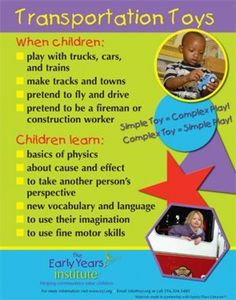 The Early Years Institute shares what children learn while playing with transportation toys! Learning Stories, Play Based Learning, Learning Through Play, Learning Centers, Early Learning, Kids Learning, Early Education, Early Childhood Education, Special Education