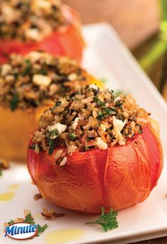 Greek Stuffed Tomatoes made with Minute Multi-Grain Medley, a blend of four 100% whole grains.
