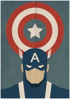 Captain America - Minimalist Retro Poster, Movie Poster, Art Print