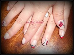 french manicure with red flowers