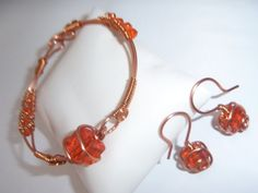 Wired Wrapped Copper Beaded Bracelet Sets by TracysJC on Etsy, $40.00