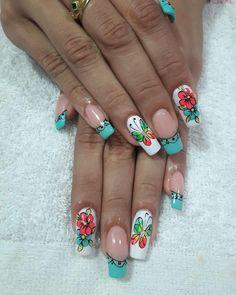 French Nail Designs, Nail Polish Designs, Acrylic Nail Designs, Nail Art Designs, Acrylic Nails, Summer Nails 2018, Spring Nails, Pretty Nails, Fun Nails