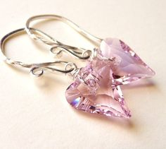 Valentines Day Crystal Heart Earrings Rosaline Rose by JBMDesigns, $24.00. Let's not isolate these beauts just for V-day. I'd wear 'em year round!